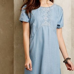 Anthropologie White Sands Chambray Tunic Dress